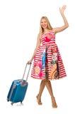Frau mit Koffer Stockfotografie