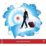 Frau mit Koffer an der Luft Stockfotografie