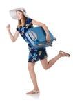 Frau mit Koffern Stockfotografie
