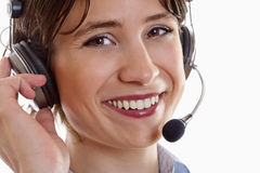Frau mit Kopfhörer Lizenzfreies Stockbild