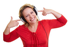 Frau mit Kopfhörern Lizenzfreies Stockbild