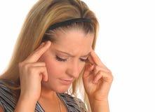 Frau mit Kopfschmerzen Lizenzfreies Stockbild