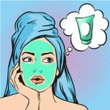 Frau mit kosmetischer Maske der Schönheit auf Gesicht Vektorillustration in der komischen Art der Pop-Art