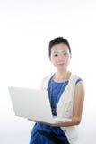 Frau mit Laptop Stockbild