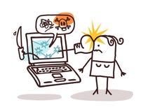 Frau mit Laptop und dem Cyberbullying Lizenzfreie Stockfotos