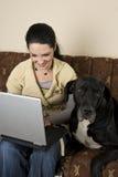 Frau mit Laptop und einem großen Hund Stockfotografie