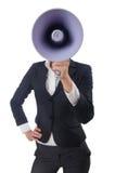 Frau mit Lautsprecher Lizenzfreies Stockbild