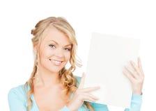 Frau mit leerem Brett lizenzfreies stockbild
