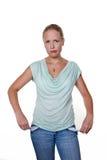 Frau mit leeren Taschen Stockbilder