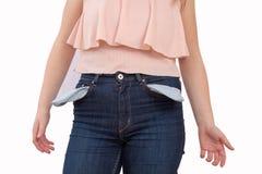 Frau mit leeren Taschen Lizenzfreies Stockfoto