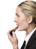 Frau mit Lippenstift Stockfotos
