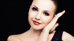Frau mit Make-up Lizenzfreie Stockfotos