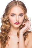 Frau mit Make-up und Frisur Stockfoto