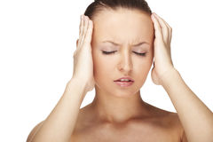 Frau mit Migräne Stockfoto