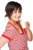Frau mit Milch Lizenzfreies Stockbild