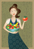 Frau mit Nahrungsmitteln der gesunden Mittelmeerdiät Stockfoto