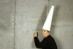Frau mit Narrenkappe-Schreiben, das ICH NICHT WERDE Stockfoto
