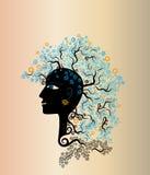 Frau mit natürlicher Element-Frisur stock abbildung