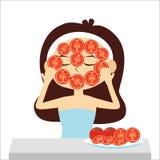 Frau mit natürlicher im Gesichtmaske, Tomatenscheibe, Vektor Lizenzfreie Stockfotos