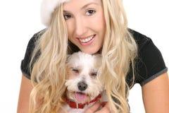 Frau mit nettem Hund Stockfotos