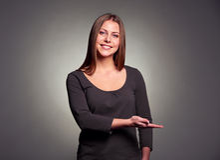 Frau mit offener Palme Stockfotografie
