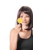 Frau mit Orangen Lizenzfreie Stockfotos