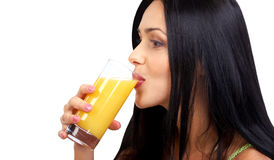 Frau mit Orangensaft Stockfotografie