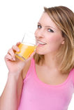 Frau mit Orangensaft Stockfotos