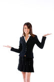 Frau mit Palmen oben Lizenzfreies Stockfoto