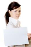 Frau mit Papier Stockfoto