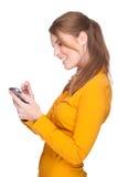Frau mit PDA Lizenzfreies Stockbild