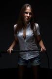 Frau mit Peitsche Stockfotos