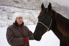 Frau mit Pferd Lizenzfreies Stockfoto