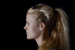 Frau mit Pferdeschwanz Stockfotos