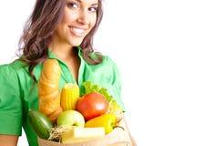 Frau mit Produkten stockfoto