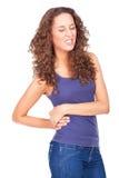 Frau mit Rückenschmerzen stockfoto