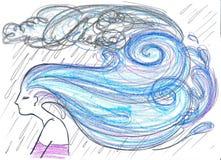 Frau mit Regenhaarkonzept Stockbild
