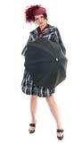Frau mit Regenschirm Stockfoto