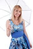 Frau mit Regenschirm auf einem Weiß Stockbilder