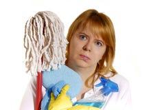 Frau mit Reinigungshilfsmitteln Stockbild