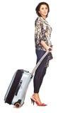 Frau mit Reisenbeutel lizenzfreies stockfoto