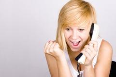 Frau mit Retro- Telefon lizenzfreie stockfotos