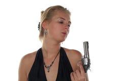 Frau mit Revolver Stockfotografie