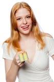 Frau mit Rhombuszeichen Lizenzfreie Stockbilder