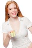 Frau mit Rhombuszeichen Stockfotografie