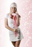 Frau mit rosafarbenem Schal auf Weiß Lizenzfreies Stockbild