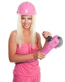 Frau mit rosafarbenem Schleifer Lizenzfreie Stockfotografie