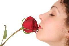 Frau mit rose2 Stockfotos