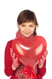 Frau mit rotem Innerballon lizenzfreies stockfoto