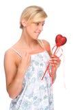 Frau mit rotem Innerem Lizenzfreie Stockfotos